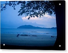 Strolling Surfer Acrylic Print by Todd Breitling