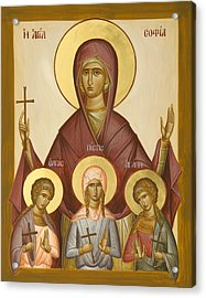 Sts Sophia Faith Hope And Love Acrylic Print by Julia Bridget Hayes