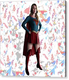 Supergirl Splash Super Hero Series Acrylic Print by Movie Poster Prints
