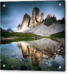 Three Peaks Reflection In Lake Acrylic Print by Matteo Colombo
