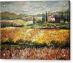 Acrylic Print featuring the painting Tuscan Wheat by Lou Ann Bagnall