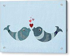 Two Fish Kissing Acrylic Print by Jutta Kuss