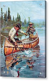 Two Fishermen In Canoe Acrylic Print by Phillip R Goodwin