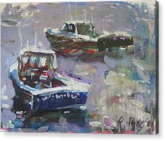 Acrylic Print featuring the painting Two Lobster Boats by Robert Joyner