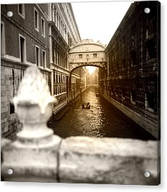 Venice Canal With Sunlight Acrylic Print by Emanuel Tanjala