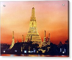 Acrylic Print featuring the painting Wat  Aroon by Chonkhet Phanwichien
