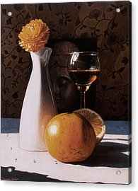 White Vase And Grapefruits Acrylic Print by Daniel Montoya
