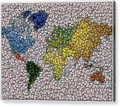 World Map Bottle Cap Mosaic Acrylic Print by Paul Van Scott