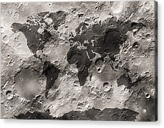 World Map On The Moon's Surface Acrylic Print by Michael Tompsett