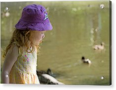 Young Girl Bird Watching Acrylic Print