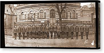 Troops In Front Of Hdqrs. 3rd Corps Canvas Print