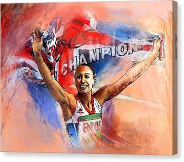 2012 Heptathlon Olympics Gold Medal Jessica Ennis  Canvas Print by Miki De Goodaboom