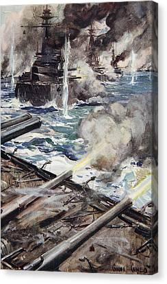 A Fleet Of Battleships Firing Canvas Print by Cyrus Cuneo