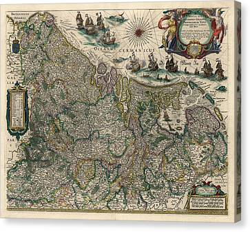 Canvas Print featuring the drawing Antique Map Of Belgium And The Netherlands By Willem Janszoon Blaeu - 1647 by Blue Monocle