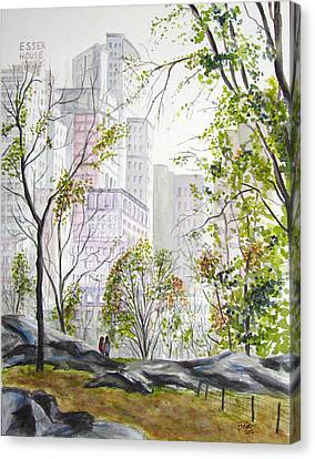 Central Park Stroll Canvas Print by Clara Sue Beym