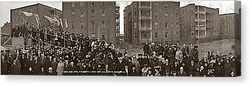 Crowd At A Cornerstone Laying Ceremony Canvas Print by Fred Schutz Collection
