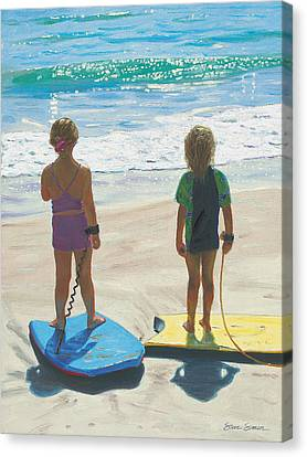 Girls On Boogie Boards Canvas Print by Steve Simon