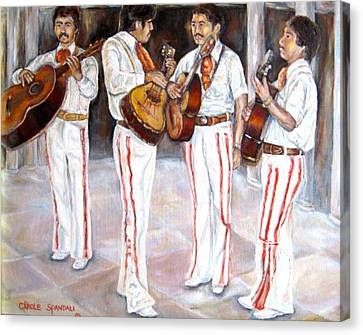 Canvas Print featuring the painting Mariachi  Musicians by Carole Spandau