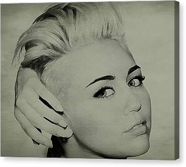 Canvas Print featuring the drawing Miley Cyrus  by Brian Reaves