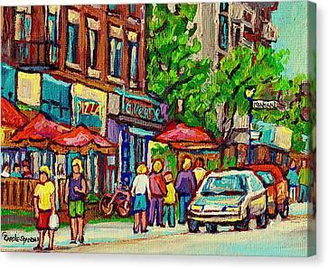 Monkland Tavern Corner Old Orchard Montreal Street Scene Painting Canvas Print by Carole Spandau