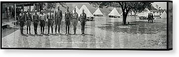 Side Porch Canvas Print - Officers At Camp Newayo, New York State by Fred Schutz Collection