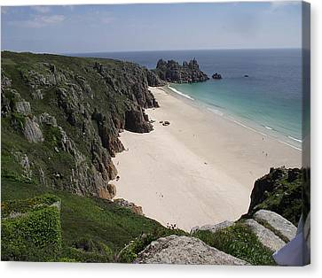 Canvas Print featuring the photograph Porthcurno Cove by Jayne Wilson