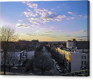 Canvas Print featuring the photograph Sunset Row Homes by Brian Wallace