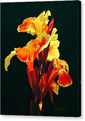 Yellow Cannas Canvas Print by Gary  Hernandez