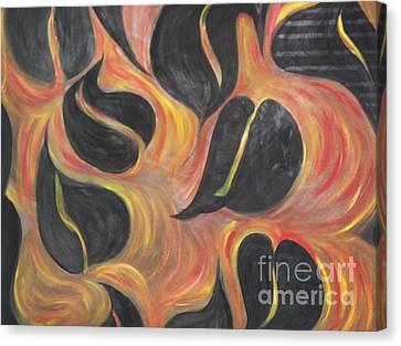 Aces Of Spades On Fire Canvas Print by Rachel Carmichael