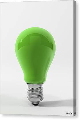 Full-length Portrait Canvas Print - Green Ligth Bulb by BaloOm Studios