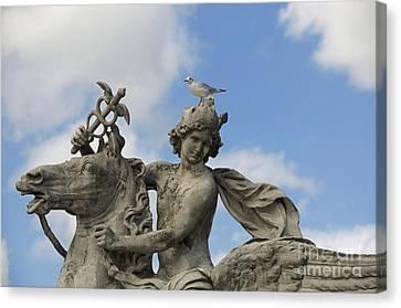 Statue . Place De La Concorde. Paris. France Canvas Print by Bernard Jaubert