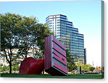 World's Largest Free Stamp Cleveland Ohio Canvas Print by Lila Fisher-Wenzel