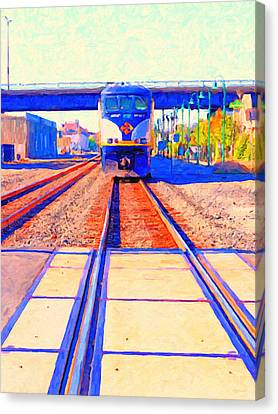 Amtrak Train . Photo Art Canvas Print by Wingsdomain Art and Photography