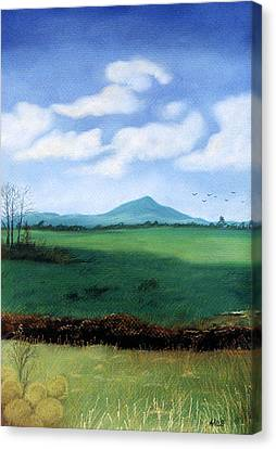 Canvas Print featuring the pastel Hermit's Peak by Jan Amiss