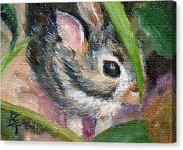 Canvas Print featuring the painting Hiding Aceo by Brenda Thour