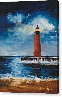 Canvas Print featuring the painting Lonely Beacon by Brenda Thour
