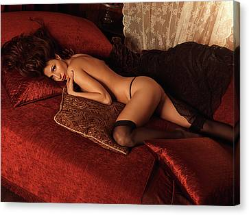 Sexy Young Woman Lying On A Bed Canvas Print by Oleksiy Maksymenko