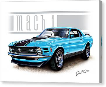 Ford Muscle Car Canvas Print - 1970 Mustang Mach 1 Blue by David Kyte