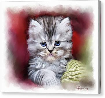 Pet Cat Portrait Canvas Print by Michael Greenaway