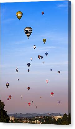 Colorful Balloons On Colorful Sky Canvas Print by Angel  Tarantella