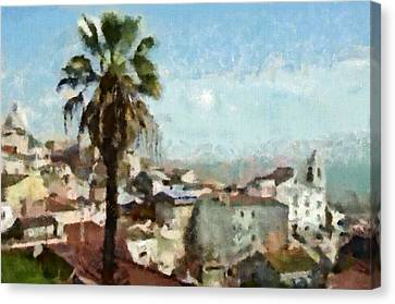 Canvas Print featuring the painting Lisbon by Dariusz Gudowicz