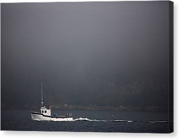 A Fishing Boat Motors Through The Fog Canvas Print by Pete Ryan
