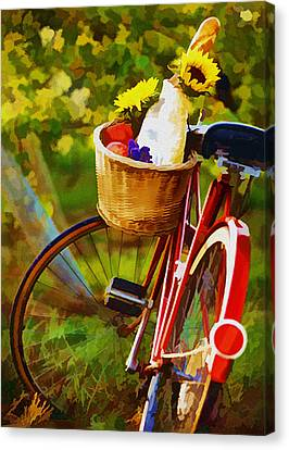 Tasting Canvas Print - A Loaf Of Bread A Jug Of Wine And A Bike by Elaine Plesser