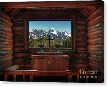 A Pew With A View Canvas Print by Sandra Bronstein