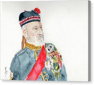 Canvas Print featuring the painting A Scottish Soldier by Yoshiko Mishina