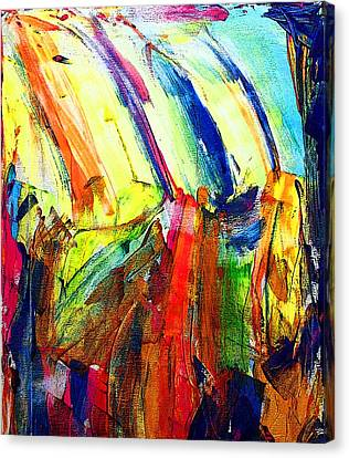 Canvas Print featuring the painting Abstract Colored Rain by Jennifer Godshalk