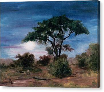 Canvas Print featuring the painting African Moon by Brenda Thour