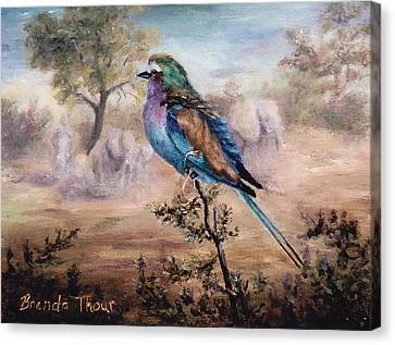 Canvas Print featuring the painting African Roller by Brenda Thour