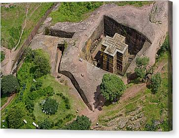 An Aerial View Of The Rock Hewn Church Canvas Print by Michael Poliza