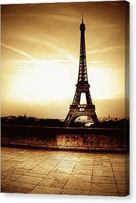 Ancient Paris Tour Eiffel Canvas Print by Noovae